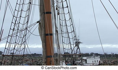 Tall Ship Mast and Rigging Tilt Up - Tilt up from base of...