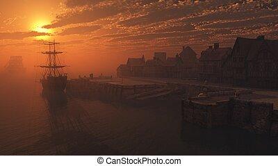 Tall Ship on the Moorings at Sunset - Dockside moorings at ...