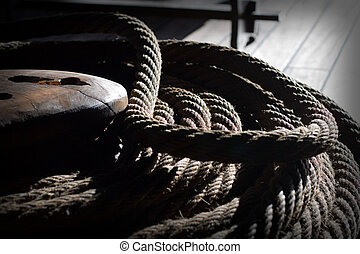 Tall Ship Rigging - The rigging and rope details of a tall...