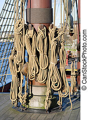 Tall Ship Rigging - The rigging and rope details of a tall ...