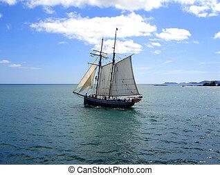 Tall Ship (R.Tucker Thompson) sailing through the Bay of...