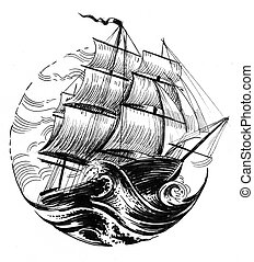 Tall ship - Sailing ship in stormy sea. Ink black and white ...