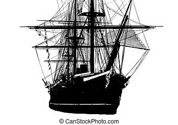 Tall ship silhouette - Silhouette of tall ship with masts ...