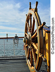 Tall Ship Steering Wheel - The Wooden Steering Wheel of a ...