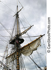 Tall Ship at dock in akerbrygge, Oslo Norway.