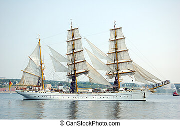 Tall Ship - Tallship sailing vessel under full sail