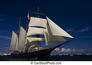 Tall Ship under sails on Baltic Sea