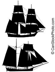 vector silhouettes of the tall ships of XVIII century isolated on white