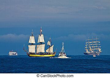 Tall ships on the Baltic Sea.