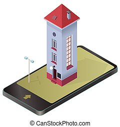 Tall slim house. Isometric blue building, red roof in mobile...