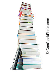 Tall stack of books and e-book reader on the white background