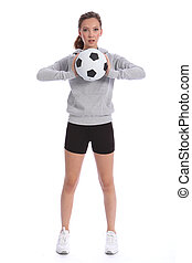 Tall teenage girl soccer player with sports ball - Tall slim...