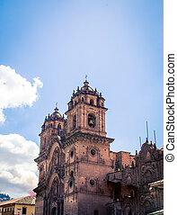 tower of a cathedral in Cusco