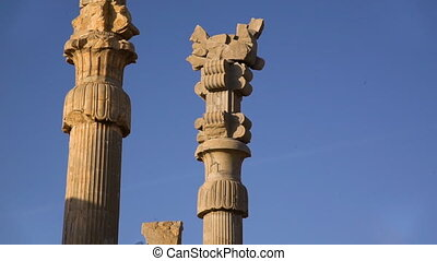 Tall towers of city of persepolis - A steady shot of the...
