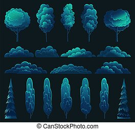 Tall tree, fir-tree and bush set with a lush crown dark blue color, abstract style night view