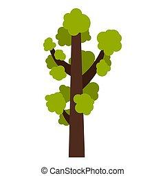 Tall tree icon, flat style