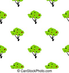 Tall tree with fruits pattern flat