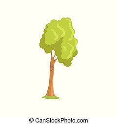 Tall tree with smiling face expression. Humanized forest plant with green foliage. Natural landscape element. Flat vector design