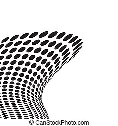 Black and white fluid wave with copy space and circle grid