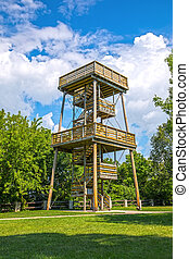 Tall wooden lookout tower for observing nature