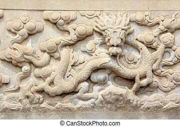 tallado, piedra, real, zunhua, 2012, 13, oriental, poder, dinastía, zunhua, provincia, tumbas, qing, china., trabaja, ciudad, hebei, 13: