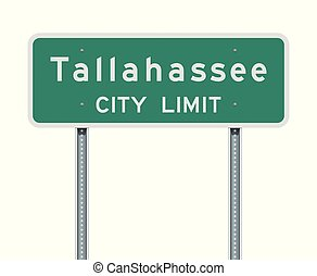 Vector illustration of the Tallahassee City Limit green road sign
