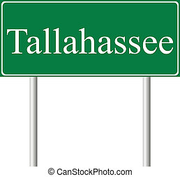 Tallahassee green road sign isolated on white background