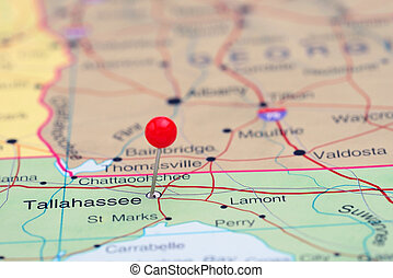 Tallahee pinned on a map of usa. Photo of pinned tallahee on a ... on