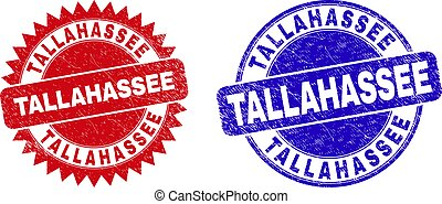 Round and rosette TALLAHASSEE seals. Flat vector scratched watermarks with TALLAHASSEE message inside round and sharp rosette shape, in red and blue colors. Watermarks with corroded style,