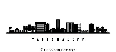 Tallahassee skyline horizontal banner. Black and white silhouette of Tallahassee, Florida. Vector template for your design.