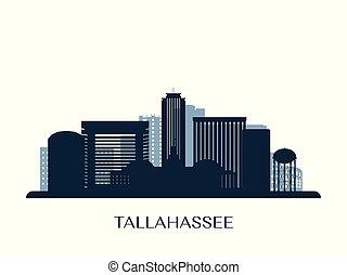 Tallahassee skyline, monochrome silhouette. Vector illustration.