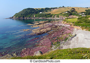 Talland Bay shingle beach Cornwall