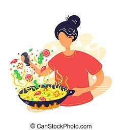 tallarines, coocking, joven, wok, mujer, sartén