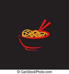 tallarines, ilustración, señal, símbolo, alimento
