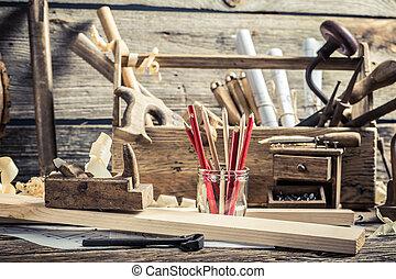 taller, carpintería, banco de trabajo, dibujo, viejo