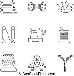 taller, conjunto, accesorios, costura, iconos