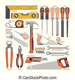 taller, conjunto, handtools, herramienta, blanco, aislado, ilustración, destornillador, martillo, vector, carpinteros, plano de fondo, llave inglesa, alicates, construcción, mano, hand-saw, caja de herramientas
