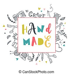 taller, hechaa mano, justo, artes, arte, cartel, fiesta