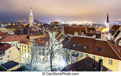 tallin, cidade, estónia, amanhecer