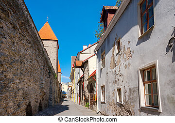 tallinn, antigas, rua., estónia