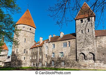 tallinn, antigas, walls., estónia