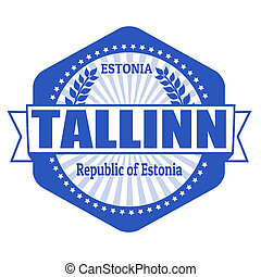Tallinn capital of Estonia label or stamp