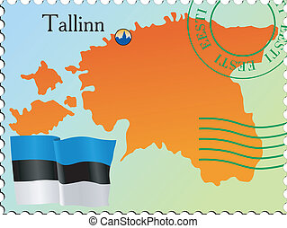 Tallinn - capital of Estonia. Stamp