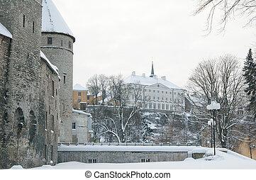 tallinn., cidade, antigas, estónia, vista