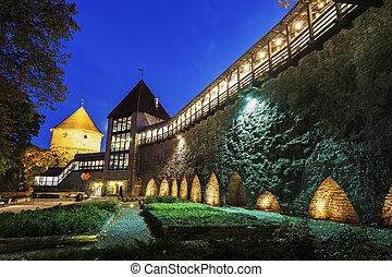 Tallinn City Walls at night. Tallinn, Estonia.