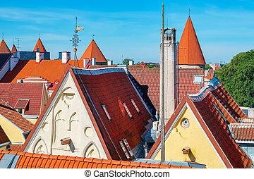 tallinn, estónia, roofs.