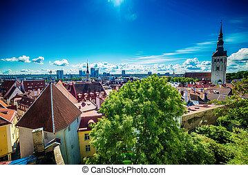 Tallinn, Estonia: aerial top view of the old town