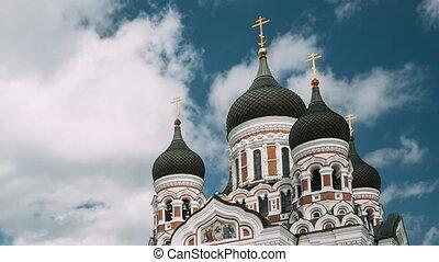 Tallinn, Estonia. Alexander Nevsky Cathedral. Famous Orthodox Cathedral. Popular Landmark And Destination Scenic. UNESCO World Heritage Site
