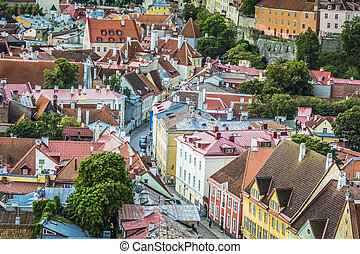 Tallinn, Estonia at the old city. - Skyline of Tallinn,...