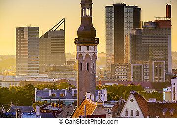 Tallinn Estonia Cityscape - Tallinn, Estonia cityscape in...